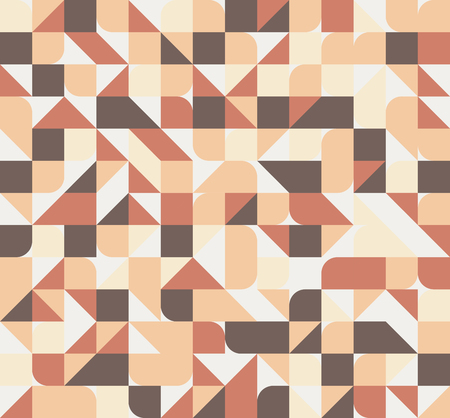 colores calidos: Vector seamless square triangle circle geometric pattern, warm colors
