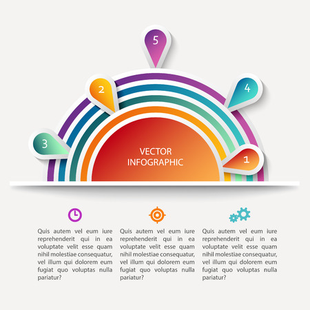 analytic: Vector infographic scheme with colorful circles, data display concept with text, bright colors