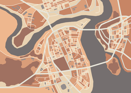 megapolis: Vector flat abstract city map, decorative map with colorful areas, dark shades