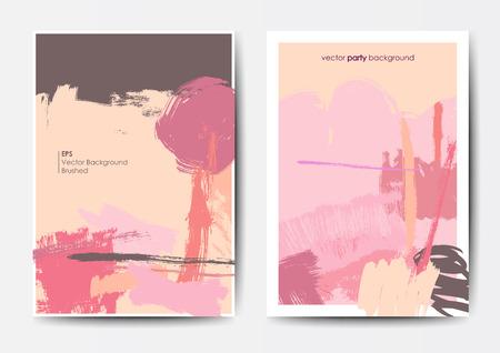 Modern grunge brush design templates, invitation, banner, art cards design in bright colors