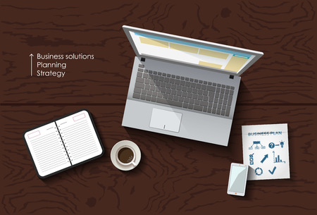 flat lay work space, table with laptop and smartphone, business concept