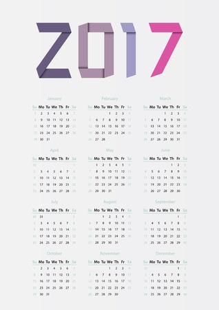 Ribbons 2017 year calendar in bright colors