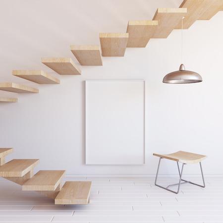 wooden stool: Interior mockup 3d