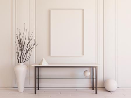 console table: Interior mockup 3d