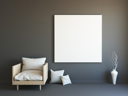 render: Interior mockup illustration, 3d render of scandinavian style black room with armchair and blank wall