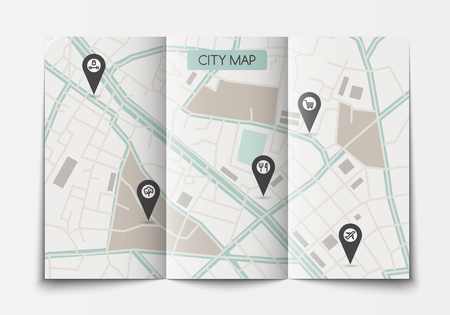 Open paper city map.