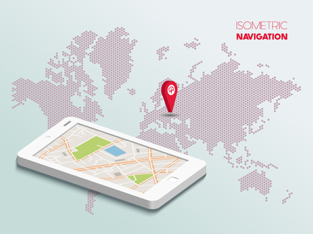 Isometric smartphone with map Illustration