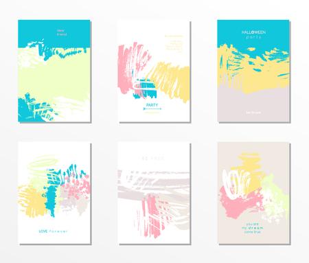 Modern grunge brush design templates, vector cards, invitation, banner, handmade texture design in bright colors Illustration