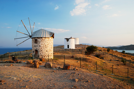 Bodrum old windmills Stock Photo