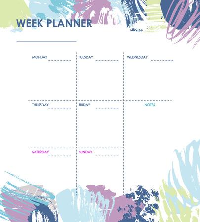 Weekly planner design Illustration