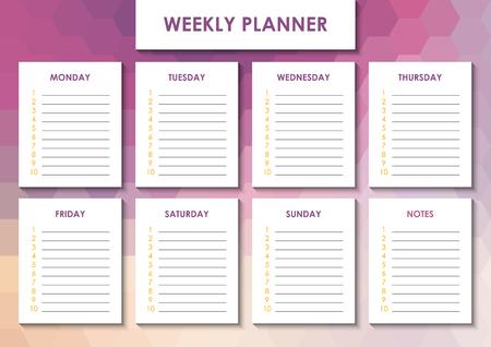 Weekly planner design Zdjęcie Seryjne
