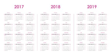Calendar template for 2017, 2018, 2019