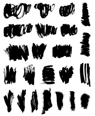 Zwarte borstelslagen instellen Stock Illustratie