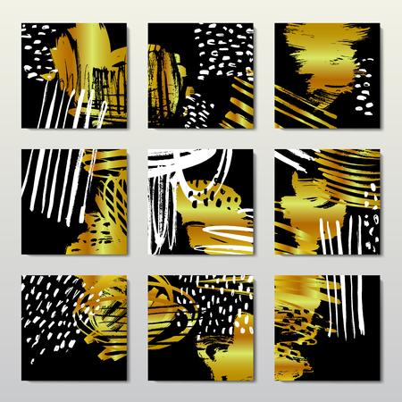 Gold background postcards Illustration