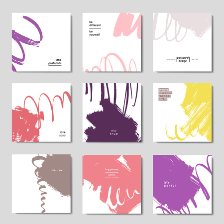 hand brushed: Modern brush vector postcard template