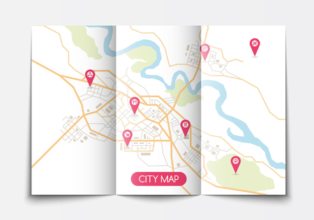 Vector flat paper city map lying open, top view, flat style, brochure template