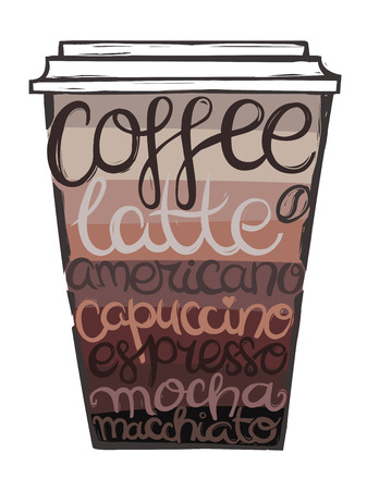Summer lettering and symbols in a coffee cup.