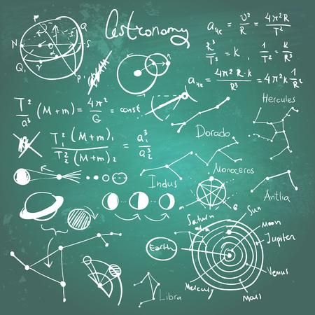 Astronomic drawings on a chalkboard illustration. Illustration