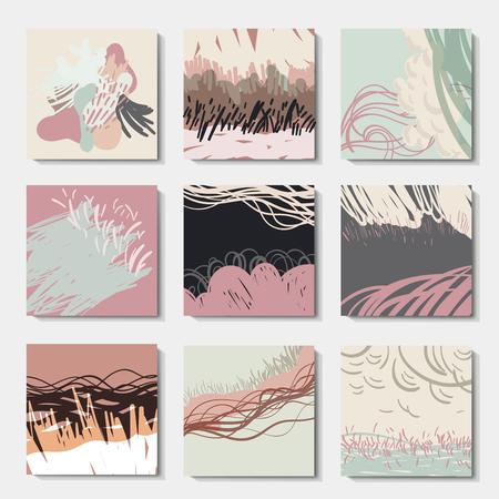 Set of 6 ink brush patterns, abstract art, modern grunge brush design templates, invitation, banner, vector cards design Vetores