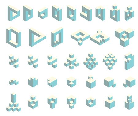 Isometric cubes set Stock Vector - 102731841