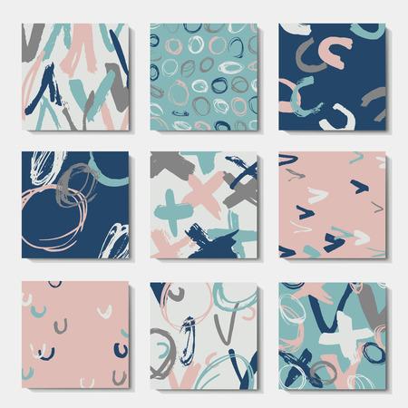 Set of art postcards, modern grunge brush design templates, invitation, banner, colorful ink cards Vetores