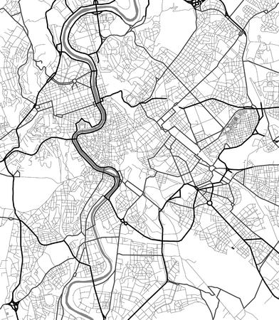 Vector map of Rome in black and white, city map simple style  イラスト・ベクター素材