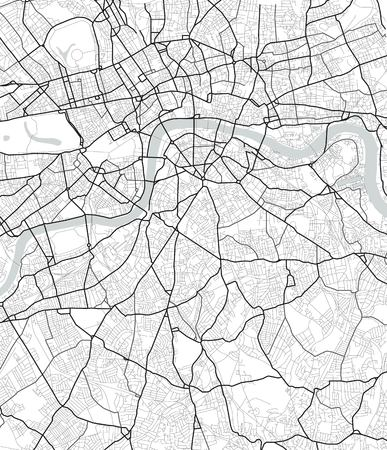 Vector map of London in black and white, city map simple style Ilustração