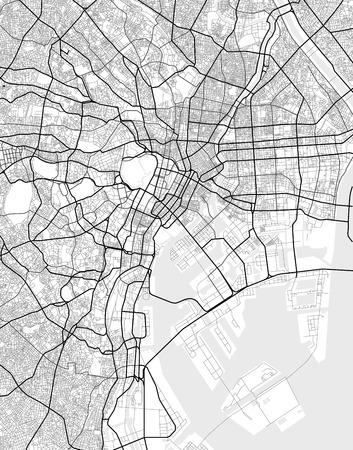 Mapa del vector de Tokio en blanco y negro, mapa de la ciudad de estilo simple