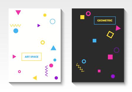 Plantillas de postales geométricas vectoriales en estilo pop art Ilustración de vector