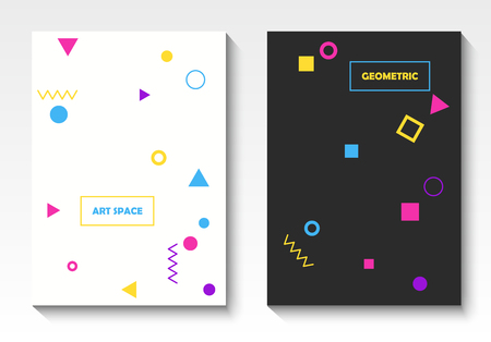 Vector geometric postcard templates in pop art style Ilustração Vetorial