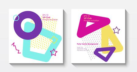 Plantillas de postales geométricas vectoriales en estilo pop art