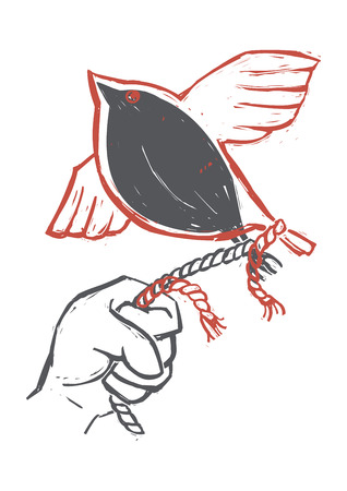 Vector illustration of bird flying away, hand holding a rope, freedom concept Illusztráció