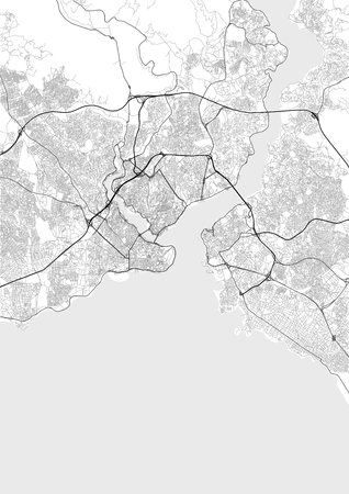 Vector map of Istanbul in black and white, city map simple style Illustration