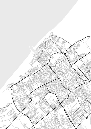 Vector map of Hague, Netherlands in black and white, city map simple style Vectores