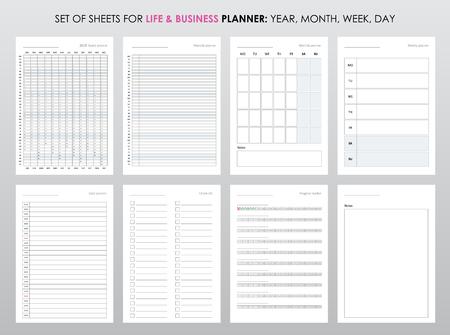 Conjunto de planificadores para la vida y los negocios, hojas de planificador, organizador para asuntos personales y laborales. Ilustración de vector