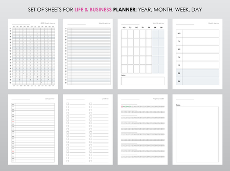Set of planners for life and business, planner sheets, organizer for personal and work issues Vetores