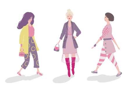 Vector set of three stylish girls in trendy clothes, posing and walking