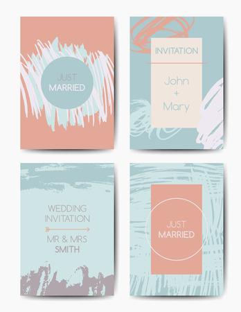 Set of wedding invitations, modern grunge brush design templates, colorful ink cards Ilustração