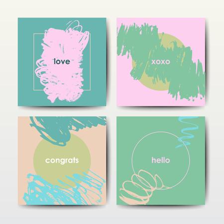 Set of art postcards, modern grunge brush design templates, invitation, banner, colorful ink cards