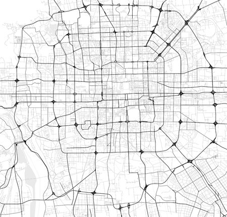 Vector map of Beijing, China in black and white, city map simple style  イラスト・ベクター素材