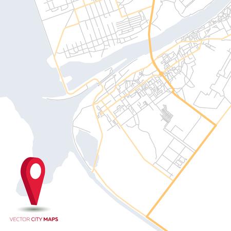 Mappa della città astratta vettoriale con puntatore rosso Vettoriali
