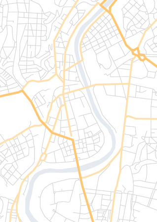 Vector flat abstract city map, with pin pointers, geotag marker