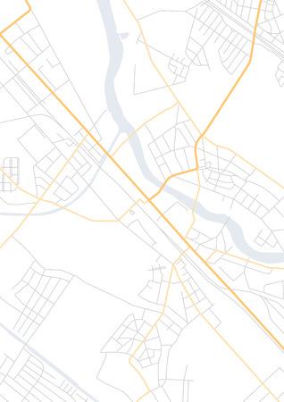 Mappa vettoriale piatta astratta della città, con puntatori a spillo, marcatore geotag