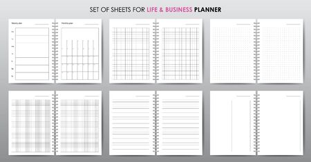 Vector planner or workbook pages for business, lined and squared sheets, organizer for personal and work issues