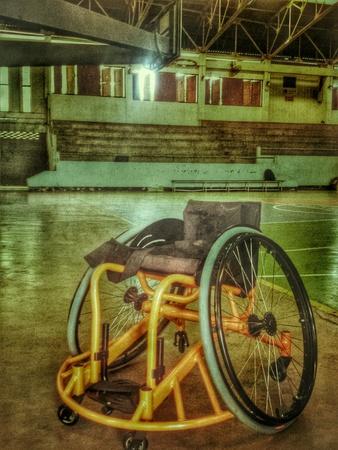 wheel chair: Wheel chair on basketball court