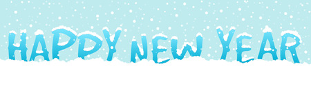 Happy New Year text with snowfall on blue background, greeting card, banner, vector illustration. New Year, Christmas.