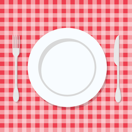 Plate with Knife and Fork. On Red Tartan. Vector