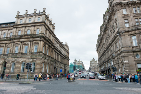 princes street: Edinburgh, Scotland - 16 July 2016 - View of Princes Street with walking people. on 16 July 2016 in Edinburgh, Scotland