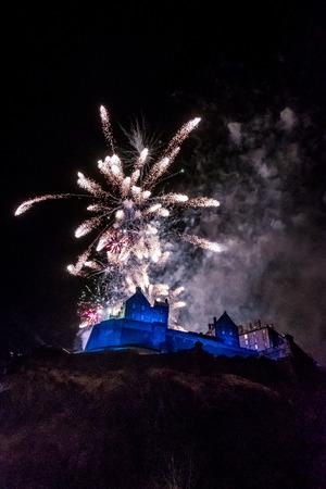 hogmanay: Edinburgh Hogmanay. New Years Eve Celebration Fireworks at Edinburgh Castle, Scotland Editorial