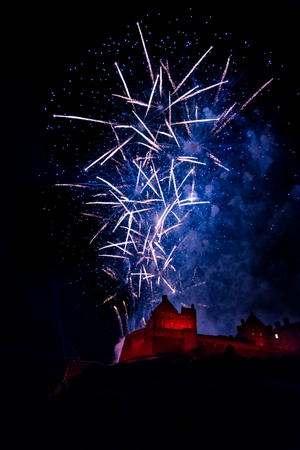 Edinburgh Hogmanay. New Years Eve Celebration Fireworks at Edinburgh Castle, Scotland Stock Photo